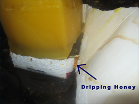 A block of beeswax with honey dripping from beneath it