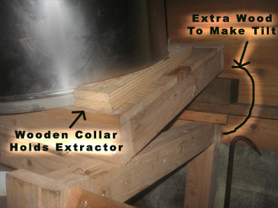 Details of woodworker Ian Balsillie's tilting honey-extractor stand