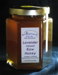 Glass Jar of Lavender Infused Raw Honey from Brookfield Farm Bees And Honey